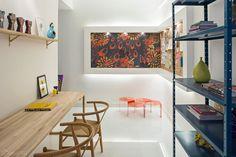 escritório, branco, madeira, azul, mix de cor