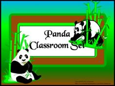 Classroom Set- PANDA THEME-This set includes the following: -Desk name tags (both regular and primary) -Charts (1 to 100, addition, and multiplication- 2 sizes) -Number lines (0 to 20, 0 to 40 skip counting by 2 and -10 to 10) -Calendar numbers (differences for odd numbers, even numbers, multiple of 3 and multiple of 5) -2 ABC sets -Assortment of tags, labels, pencil toppers, charts, posters, hall passes, directions and more. $