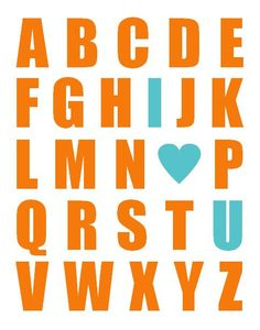 Alphabet Print With Heart  Nursery Art  ANY by PaperPlanePrints, $22.00