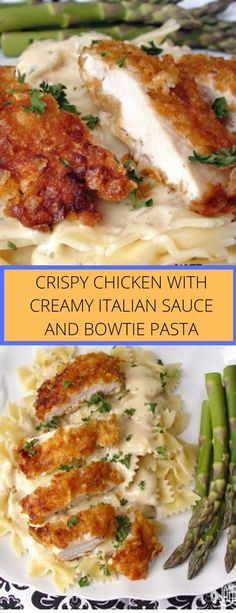 Crispy Chicken with Creamy Italian Sauce and Bowtie Pasta - Tasty Recipes Best Chicken Recipes, Turkey Recipes, Meat Recipes, Cooking Recipes, Healthy Recipes, Yummy Food, Tasty, I Love Food, Good Food