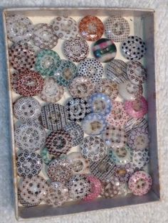 lot of 57 small calico buttons, all colors including rare plaid.