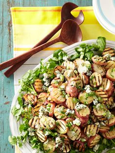 Grilled Potato Salad with Blue Cheese Vinaigrette-- The blue chs vinaigrette would be great on a steak & spinach salad!