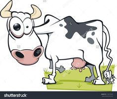 A Cartoon Cow With A Mad Expression Stock Vector Illustration ...