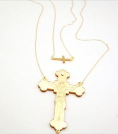 Set of 2 long and short necklace Designed Jesus AMEN cross necklace chic high fashion vintage handmade on Etsy, $69.00