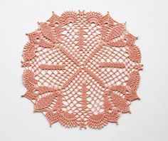 Autumn Peach // Apricot // Doily // Hand by TableTopJewels on Etsy, $20.00
