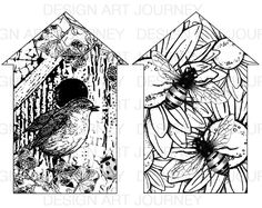 Houses: Bees & Bird Digi Stamps, Scrapbook, Tim Holtz, Stencils, Craft Projects, Arts And Crafts, Bees, Printables, Ink