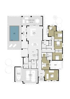 The spacious Inspiration 4 home plans include 4 bedrooms, open plan dining and raised living areas, 3 car garage, optional outdoor living area & verandah. Bungalow Floor Plans, Modern House Floor Plans, Sims House Plans, House Layout Plans, Family House Plans, Best House Plans, Dream House Plans, House Layouts, Living Pool