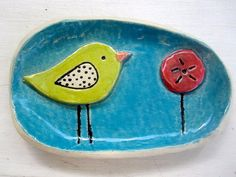 Whimsical Bird Soap Dish or Spoon rest by ShoeHouseStudio