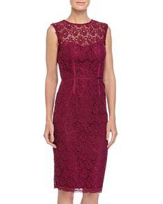 Sleeveless Lace Sheath Dress, Dark Cherry by Jill Jill Stuart at Neiman Marcus Last Call.