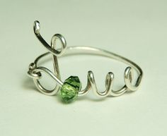 Wire Rings | love wire ring sterling silver - green faceted crystal reduced price ...