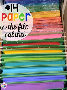 Paper storage hack plus 14 more classroom organization hacks to make teaching easier that every preschool, pre-k, kindergarten, and elementary teacher should know. FREE theme box labels too!