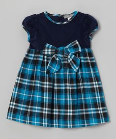 Take a look at this Navy Plaid Bow Dress - Infant & Toddler by Les Petits Soleils on #zulily today!