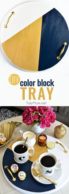 A bold colorful tray is the perfect way to add a pop of color to a space and use it as a serving tray when entertaining. The color blocking gives this tray a modern look while the touch of gold adds a little elegance! Get the full tutorial to make your own DIY Color Block Tray at TidyMom.net #diy #crafts #colorblock #crafting #handmade