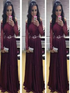 Long Sleeve prom dress, Burgundy prom dress, Off shoulder prom dress, Prom dress with lace, A-line Floor-Length Prom dress, Real Made dress. PD2104