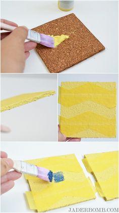 how to paint chevron cork coasters