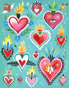 / hearts aflame / folk art style art print / by katie daisy / via etsy / Art Mural Floral, Posca Art, Acrylic Artwork, Mexican Folk Art, Love Painting, Heart Art, Etsy, Wall Art Prints, Crafts