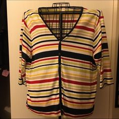 Cotton striped cardigan Striped button up cardigan. Colors are black, red, green, tan, and yellow on a white background. Sweaters Cardigans