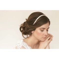 Simple wedding updo with rhinestone headband | OneWed.com found on Polyvore