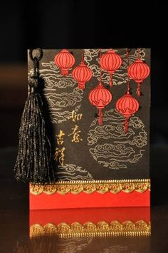 handmade card for Chinese New Year  by kitty1wu  ... red and black with gold ...