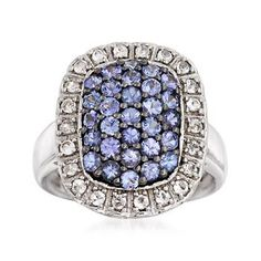 Ross-Simons - 1.30 ct. t.w. Tanzanite and .30 ct. t.w. White Topaz Ring in Sterling Silver - #849723