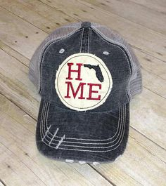 43f365823b6 Florida Home Embroidered Raggy Patch Distressed Black and Grey Trucker Hat    High Bun Ponytail Cap