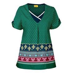 Playful, winter knit-inspired print - Origins by WonderWink Women's Y-Neck Fashion Print Top - Print name: Itty Bitty Knitty - 100% cotton #scrubs #WonderWink | allheart.com
