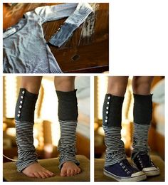 Recycled shirt into legwarmers!