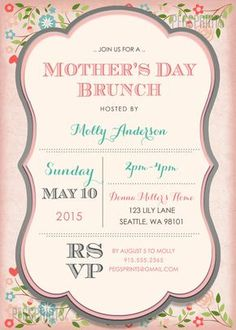 Mothers Day Brunch Invitation // Printable Mothers by PegsPrints