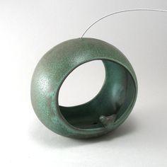 Bird Feeder-Hand Built Pottery-Rustic-Ceramic Bird Feeder-Turquoise-Porcelain Clay-Home and Garden