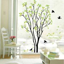 Decalques Decor Art removíveis enormes pássaros cantam na árvore de adesivos de parede(China (Mainland))