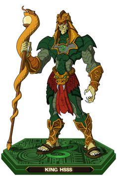 King Hiss - Dentro de sus muchas habilidades el rey Hiss es un experto hechicero. Su lista de habilidades es esta:  - Escudos de energía - Hipnotizar - Rayos de energía - Posesión y/o dominación - Sierpes de presa mágica - Numerosos rituales mágicos - Convocar al dios serpiente - Levitación - Regeneración