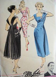 1950s Dramatic Sheath Dress Evening Cocktail Dress Pattern Mr. John Couturier Boutique for Advance  American Designer 8171