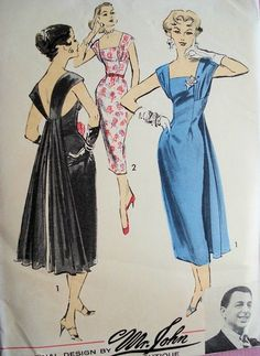 1950s Dramatic Sheath Dress Evening Cocktail Dress Pattern Mr. John Couturier Boutique for Advance  American Designer 8171 Vintage Sewing Pa...