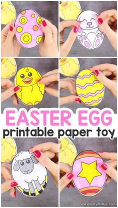 Printable Easter Egg Paper Toy - Easy Peasy and Fun Easter Arts And Crafts, Easter Projects, Easter Crafts For Kids, Spring Crafts, Children Crafts, Easter Activities, Craft Activities For Kids, Craft Ideas, Paper Toys