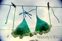 Knitted Bikini Top handknitted cotton blue green by WendysKiss, $22.00