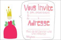 carte anniversaire princesse , gratuite à imprimer
