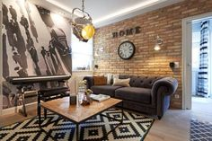 Modern nappali szeletelt bontott tégla burkolat Decoraunts Interior Design