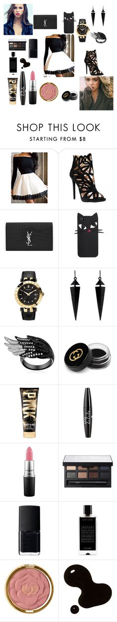 """""""Untitled #95"""" by softic-23 ❤ liked on Polyvore featuring beauty, Yves Saint Laurent, Versace, Oasis, Gucci, NYX, MAC Cosmetics, NARS Cosmetics, Agonist and Milani"""