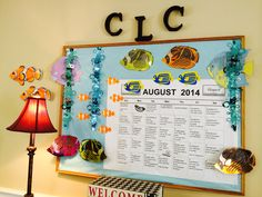 Fish theme for August bulletin board