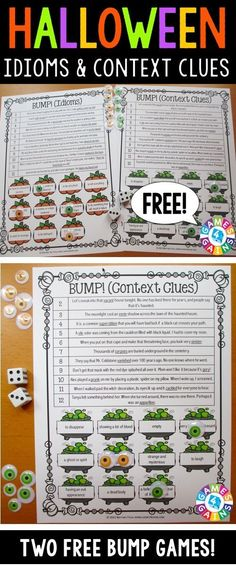 Halloween Games FREE contains 2 fun and engaging Halloween-themed bump games to help students to practice idioms and context clues. These games are so simple to use and require very minimal prep. They are perfect to use in Halloween reading centers or as extension activities when students complete their work!