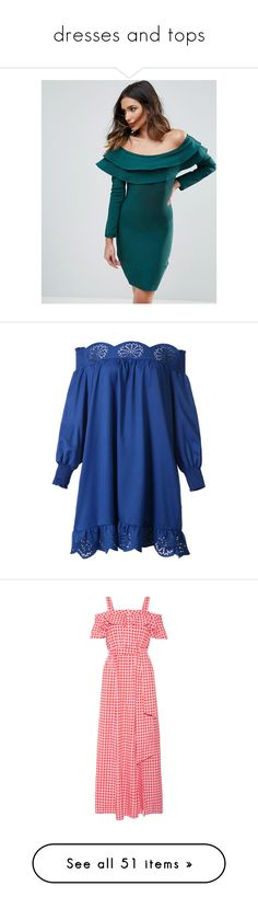"""""""dresses and tops"""" by f4shi0n4b1e ❤ liked on Polyvore featuring dresses, green, long-sleeve mini dresses, green bodycon dress, green long sleeve dress, off-shoulder ruffle dresses, long sleeve cocktail dresses, vestidos, blue shift dress and off the shoulder long dress"""