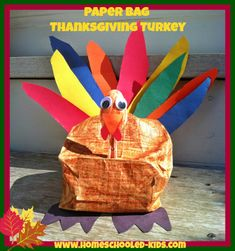 Paper Bag Thanksgiving Turkey - EASY and cute Thanksgiving craft for kids - from Homeschooled Kids Online  www.homeschooled-kids.com