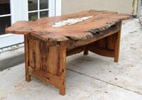 """""""Memory"""" Mesquite desk with marble and turquoise inlay."""