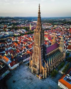 Ulm Minster is a Lutheran church located in Ulm, State of Baden-Württemberg. Until the eventual completion of Sagrada Familia in Barcelona, Spain, it will remain the tallest church in the world, and . Ulm Germany, Bavaria Germany, Cologne Germany, World Thinking Day, Church Architecture, Baroque Architecture, City Landscape, Vacation Places, Kirchen