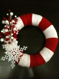 Easy made X-mas wreath:  1) buy a styrofoam or any similar wreath and wrap it in wool as shown on the photo (I divided the wreath in equal parts first, then started alternately wrapping it in red and white wool)  2) add some X-massy deco on it (otherwise it will look like a life-preserver) like paper snowflakes, stars, flowers or tree ornaments  3) ta-daaa