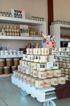 El Mundo del Dulce de Leche in Tandil, Argentina takes this sweet treat and brings it to life. Shop Interior Design, Store Design, Argentina Food, Retail Windows, South America Travel, Cafe Restaurant, Commercial Interiors, Deli, The Good Place