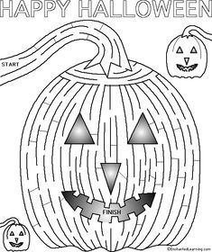 Maze for activities Halloween Class Party, Halloween Activities For Kids, Kids Learning Activities, Halloween Crafts For Kids, Holidays Halloween, Halloween Kids, Happy Halloween, Ghost And Ghouls, Coloring Pages