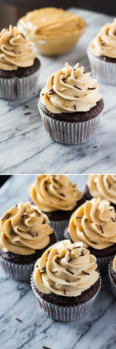 Super soft, perfectly moist Chocolate Cupcakes with Peanut Butter Frosting. If you love peanut butter & chocolate - you NEED to make these!