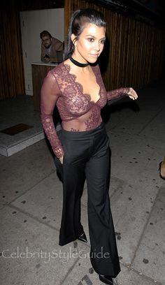 Kourtney Kardashian Took An Alluring Fashion Plunge In A Burgundy Chantilly Lace Bodysuit