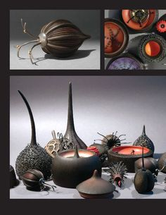 Seed pod sculptures and jewelry by Louise Hibbert and Sarah Parker-Eaton